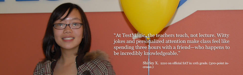 TestMagic SAT student Shirley gives her review of TestMagic SAT prep class.