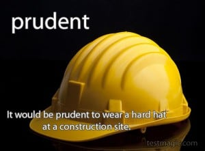 "Image of a yellow hard hat with the word ""prudent"""