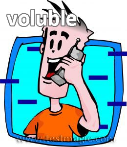 "Vocab word ""voluble"" - Male talking on cell phone (Cartoon)"