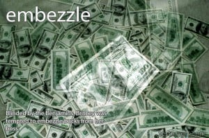 "Montage of $100 bills to illustrate the word ""embezzle"""