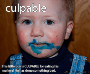 This little boy is CULPABLE for eating his markers!