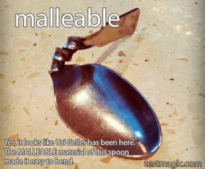 "A bent spoon illustrates the challenge vocabulary word ""malleable"""