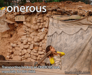 """A girl hauling bricks. Used to illustrate the vocab word """"onerous"""""""
